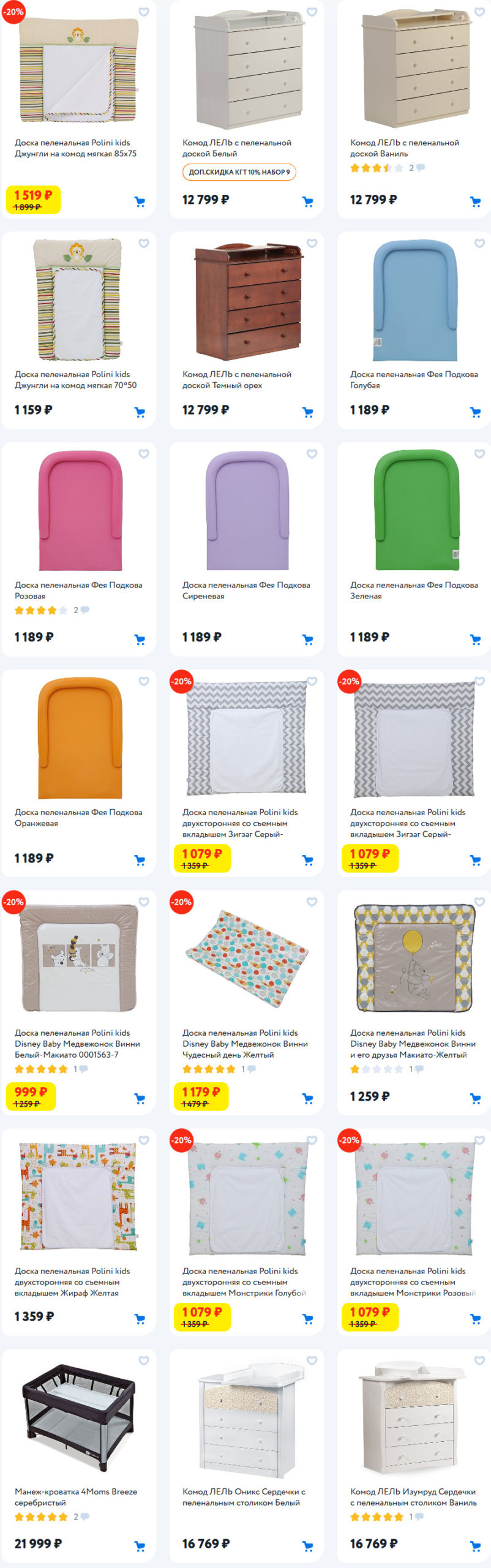 Кроватки, комоды, манежи и пеленальные доски